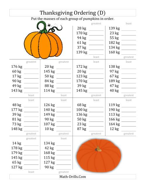 The Ordering Pumpkin Masses in Kilograms (D) Math Worksheet