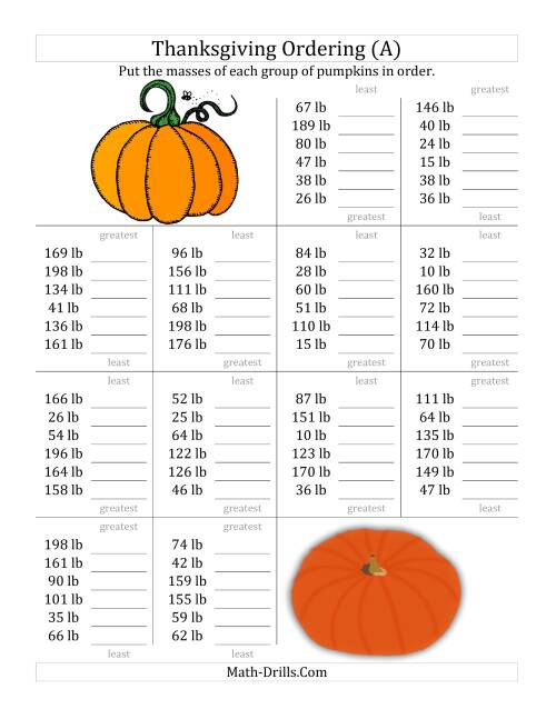 The Ordering Pumpkin Masses in Pounds (A) Thanksgiving Math Worksheet