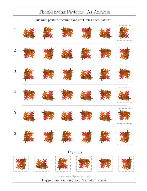 The Thanksgiving Picture Patterns with Rotation Attribute Only (A) Math Worksheet Page 2