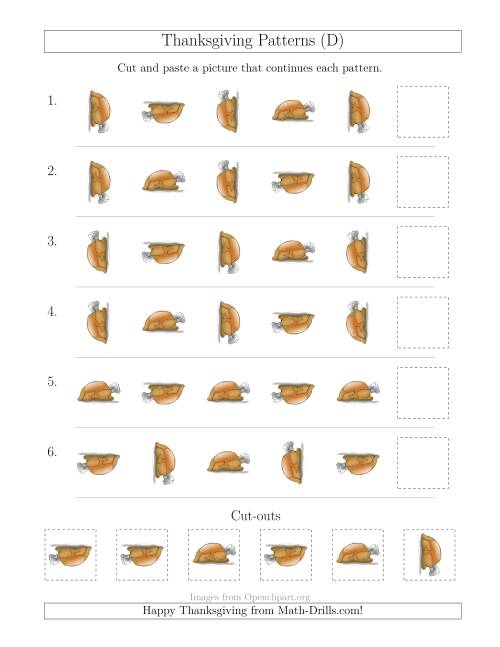 The Thanksgiving Picture Patterns with Rotation Attribute Only (D) Math Worksheet