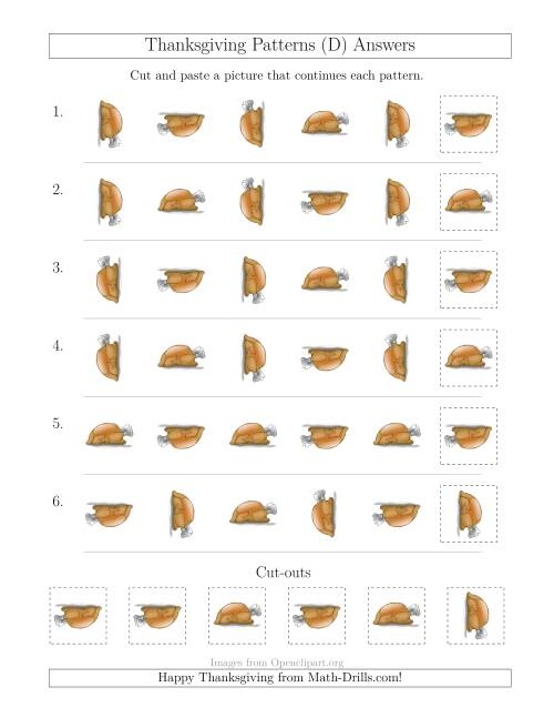 The Thanksgiving Picture Patterns with Rotation Attribute Only (D) Math Worksheet Page 2