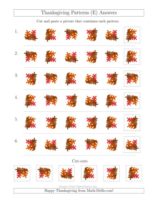 The Thanksgiving Picture Patterns with Rotation Attribute Only (E) Math Worksheet Page 2