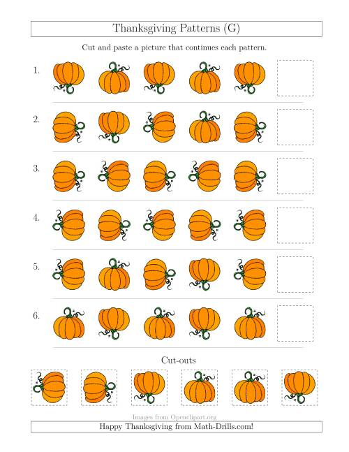 The Thanksgiving Picture Patterns with Rotation Attribute Only (G) Math Worksheet