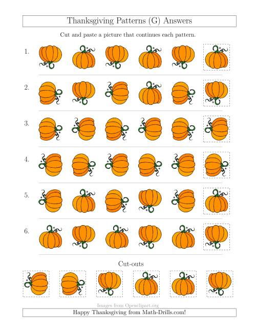 The Thanksgiving Picture Patterns with Rotation Attribute Only (G) Math Worksheet Page 2