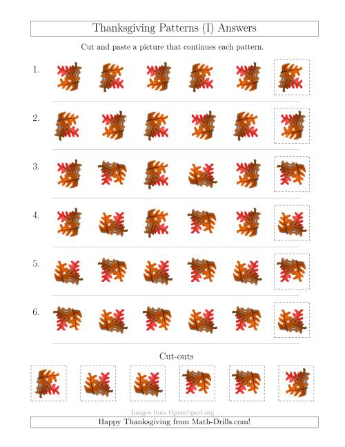 The Thanksgiving Picture Patterns with Rotation Attribute Only (I) Math Worksheet Page 2