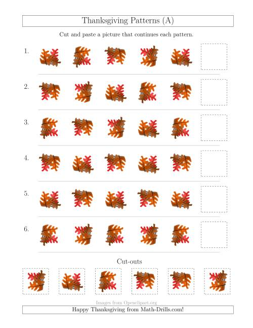 The Thanksgiving Picture Patterns with Rotation Attribute Only (All) Math Worksheet