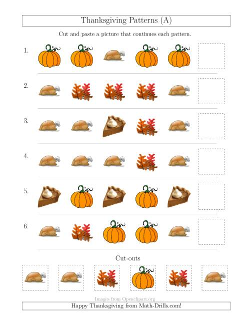 The Thanksgiving Picture Patterns with Shape Attribute Only (A) Math Worksheet