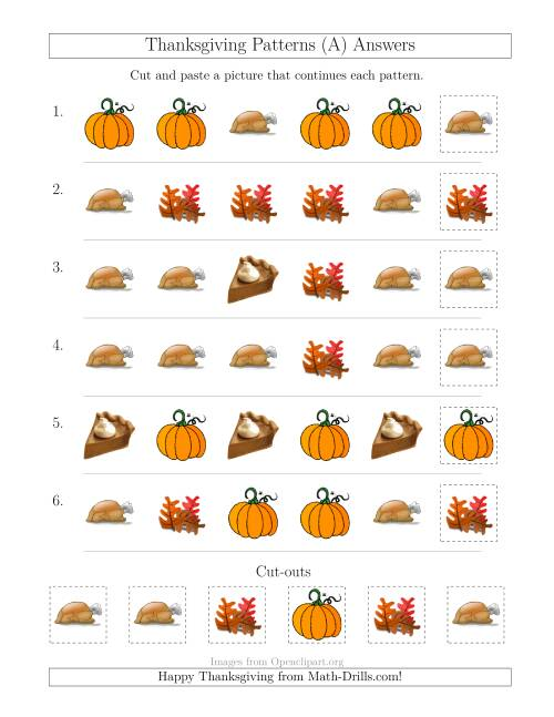 The Thanksgiving Picture Patterns with Shape Attribute Only (A) Math Worksheet Page 2