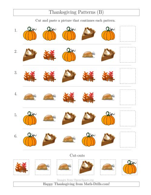 The Thanksgiving Picture Patterns with Shape Attribute Only (B) Math Worksheet