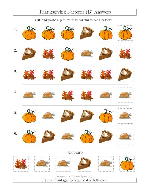 The Thanksgiving Picture Patterns with Shape Attribute Only (B) Math Worksheet Page 2