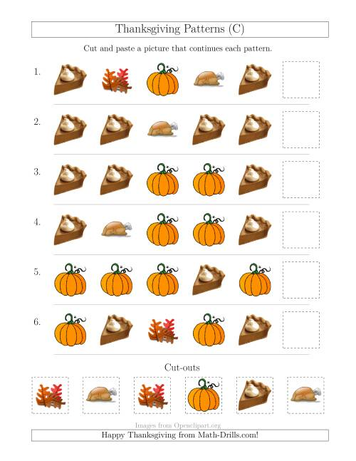 The Thanksgiving Picture Patterns with Shape Attribute Only (C) Math Worksheet