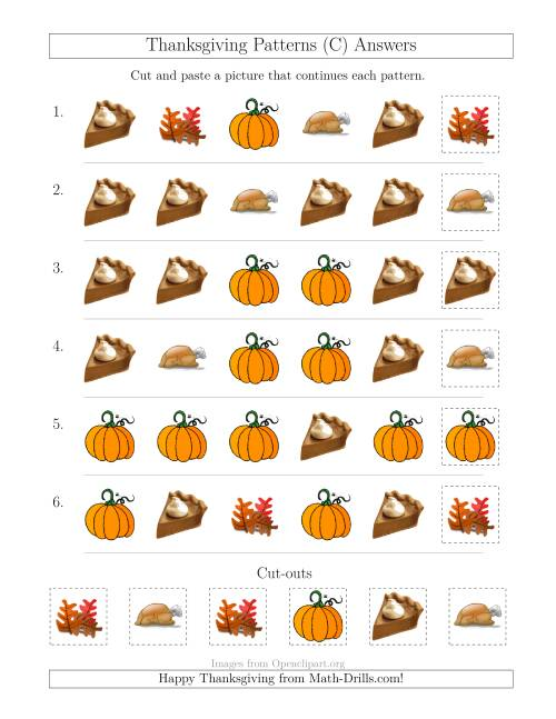 The Thanksgiving Picture Patterns with Shape Attribute Only (C) Math Worksheet Page 2