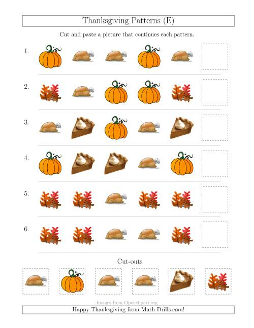 The Thanksgiving Picture Patterns with Shape Attribute Only (E) Math Worksheet