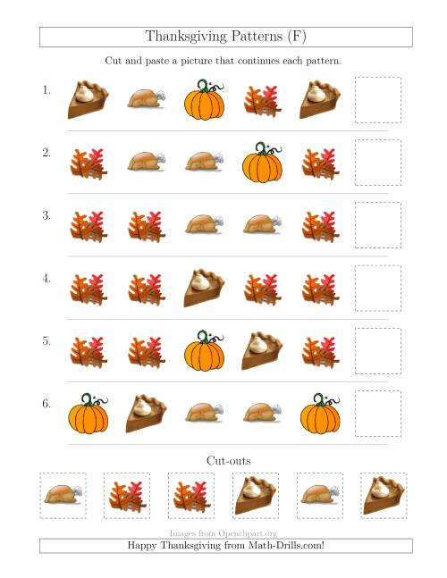 The Thanksgiving Picture Patterns with Shape Attribute Only (F) Math Worksheet