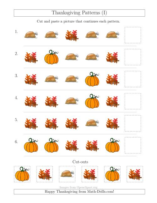The Thanksgiving Picture Patterns with Shape Attribute Only (I) Math Worksheet