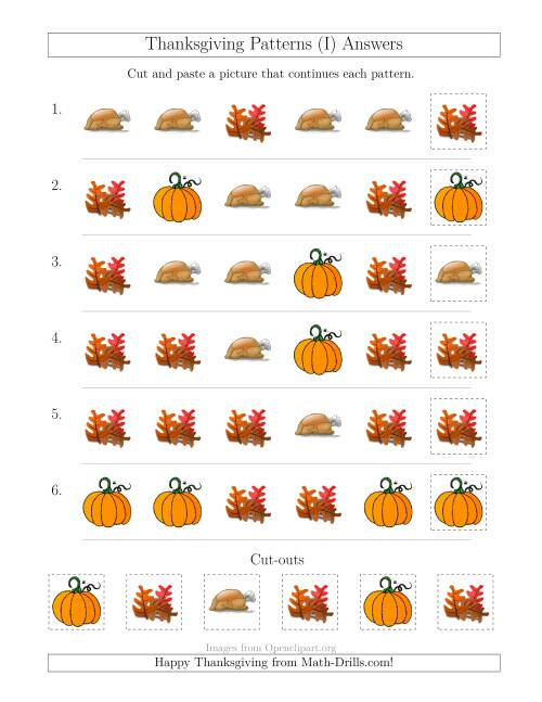 The Thanksgiving Picture Patterns with Shape Attribute Only (I) Math Worksheet Page 2