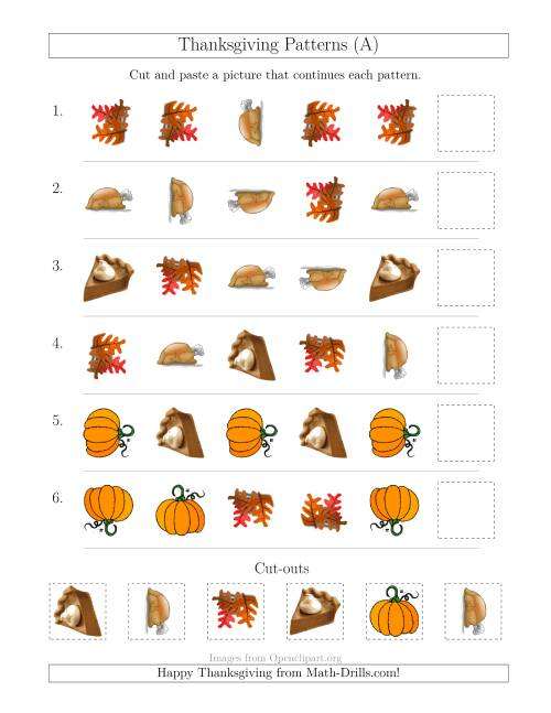 math worksheet : thanksgiving picture patterns with shape and rotation attributes  : Thanksgiving Math Worksheets