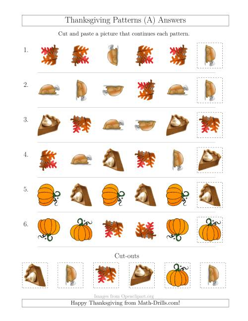 The Thanksgiving Picture Patterns with Shape and Rotation Attributes (A) Math Worksheet Page 2