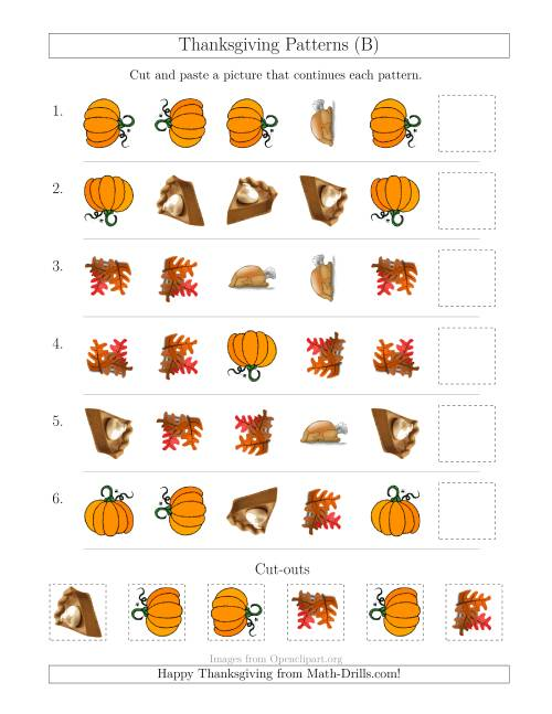 The Thanksgiving Picture Patterns with Shape and Rotation Attributes (B) Math Worksheet