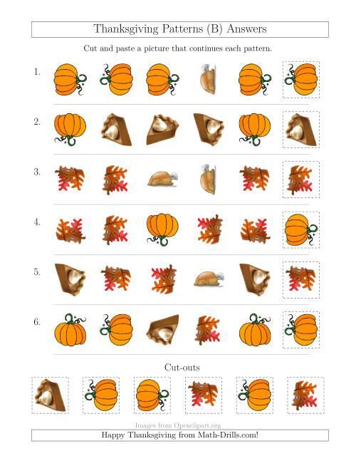 The Thanksgiving Picture Patterns with Shape and Rotation Attributes (B) Math Worksheet Page 2