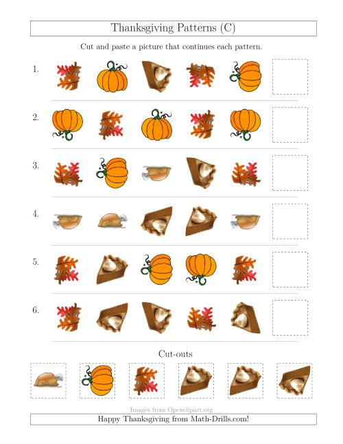 The Thanksgiving Picture Patterns with Shape and Rotation Attributes (C) Math Worksheet