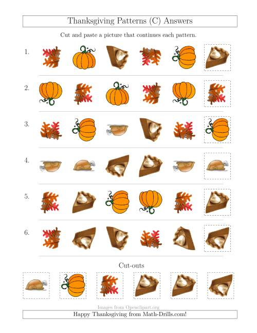 The Thanksgiving Picture Patterns with Shape and Rotation Attributes (C) Math Worksheet Page 2