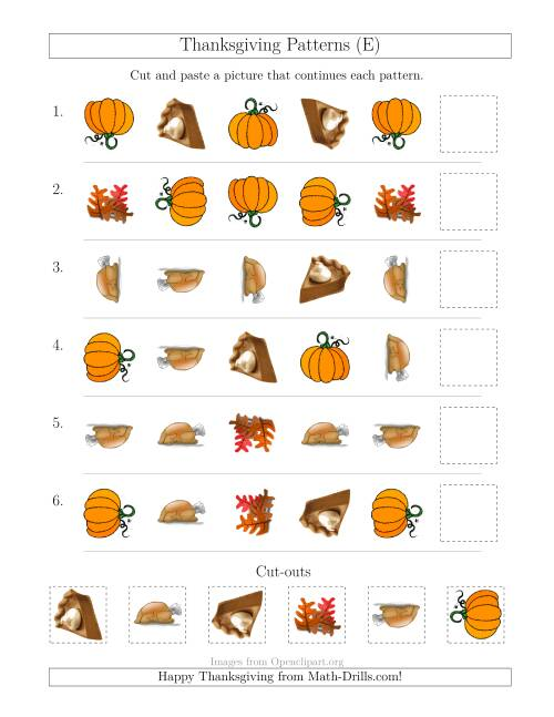 The Thanksgiving Picture Patterns with Shape and Rotation Attributes (E) Math Worksheet