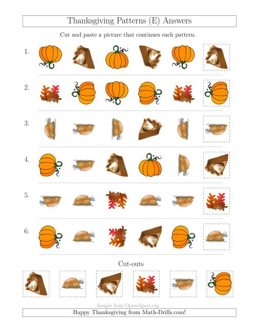 The Thanksgiving Picture Patterns with Shape and Rotation Attributes (E) Math Worksheet Page 2