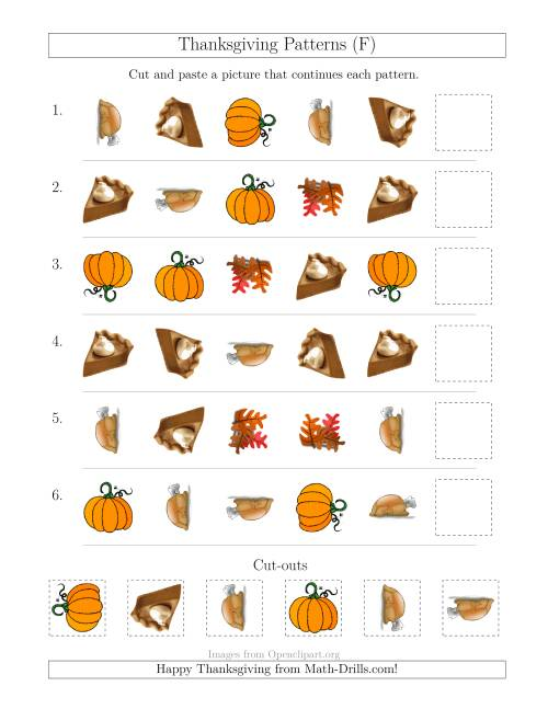 The Thanksgiving Picture Patterns with Shape and Rotation Attributes (F) Math Worksheet