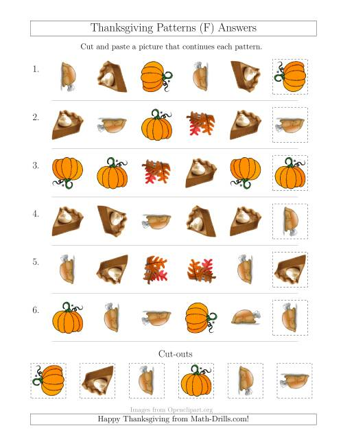 The Thanksgiving Picture Patterns with Shape and Rotation Attributes (F) Math Worksheet Page 2