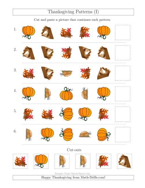 The Thanksgiving Picture Patterns with Shape and Rotation Attributes (I) Math Worksheet