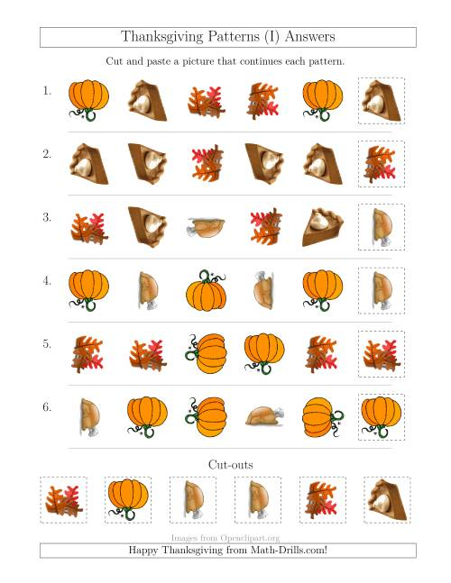 The Thanksgiving Picture Patterns with Shape and Rotation Attributes (I) Math Worksheet Page 2
