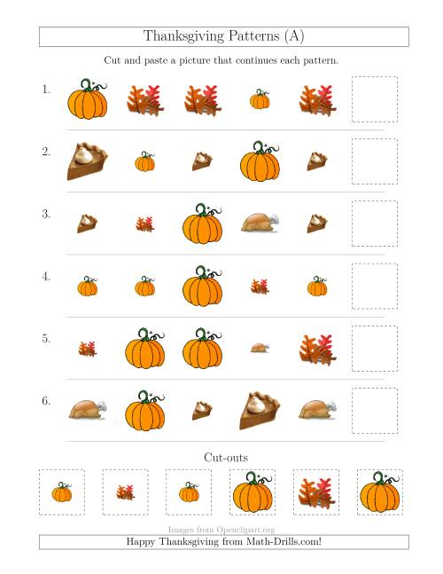 The Thanksgiving Picture Patterns with Size and Shape Attributes (A) Math Worksheet