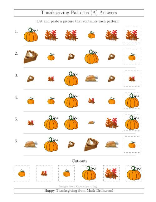 The Thanksgiving Picture Patterns with Size and Shape Attributes (A) Math Worksheet Page 2