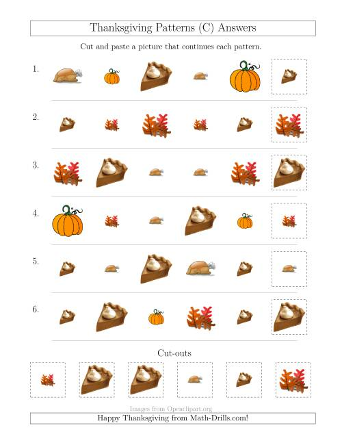 The Thanksgiving Picture Patterns with Size and Shape Attributes (C) Math Worksheet Page 2