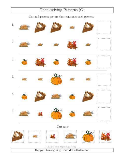 The Thanksgiving Picture Patterns with Size and Shape Attributes (G) Math Worksheet