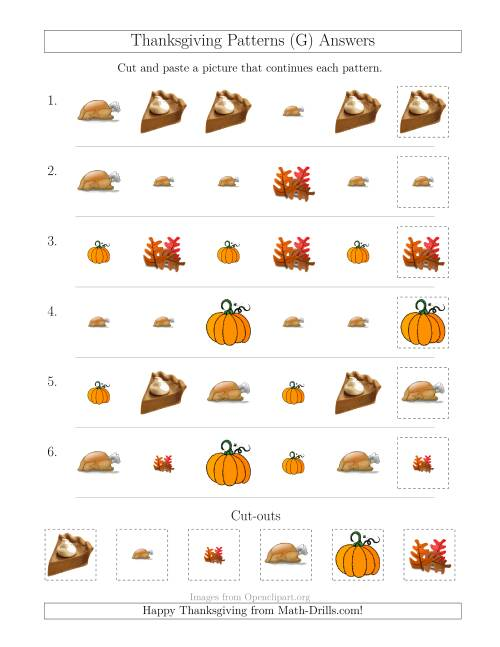 The Thanksgiving Picture Patterns with Size and Shape Attributes (G) Math Worksheet Page 2