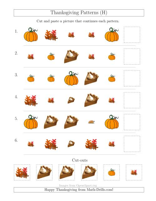 The Thanksgiving Picture Patterns with Size and Shape Attributes (H) Math Worksheet