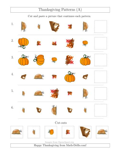 The Thanksgiving Picture Patterns with Shape, Size and Rotation Attributes (A) Math Worksheet