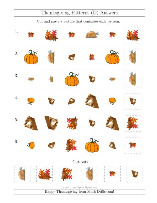 The Thanksgiving Picture Patterns with Shape, Size and Rotation Attributes (D) Math Worksheet Page 2