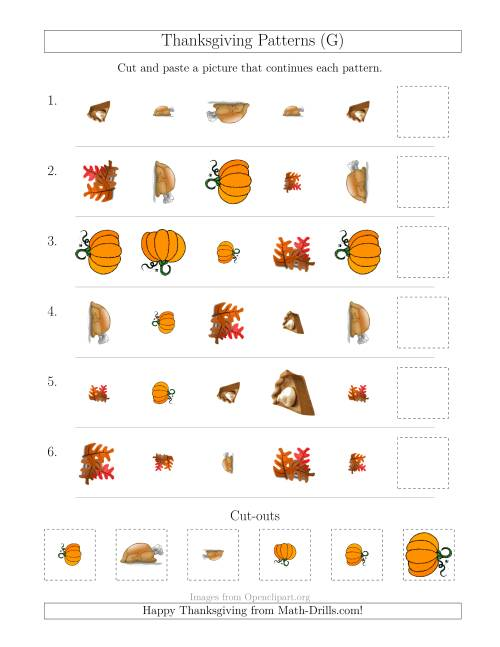 The Thanksgiving Picture Patterns with Shape, Size and Rotation Attributes (G) Math Worksheet
