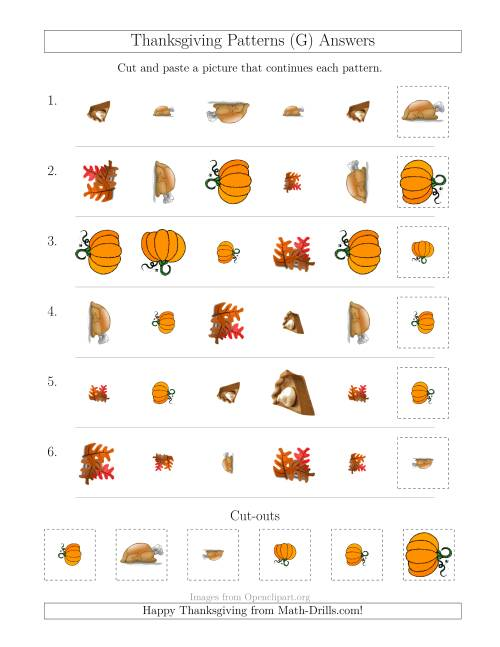 The Thanksgiving Picture Patterns with Shape, Size and Rotation Attributes (G) Math Worksheet Page 2
