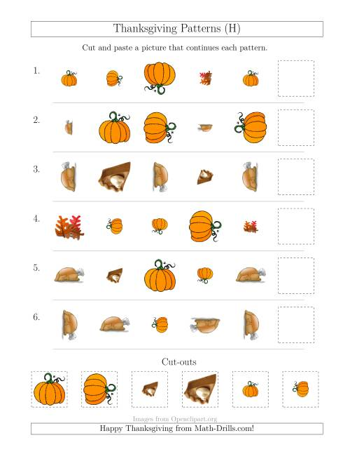 The Thanksgiving Picture Patterns with Shape, Size and Rotation Attributes (H) Math Worksheet