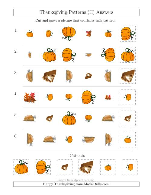 The Thanksgiving Picture Patterns with Shape, Size and Rotation Attributes (H) Math Worksheet Page 2