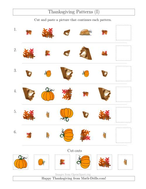 The Thanksgiving Picture Patterns with Shape, Size and Rotation Attributes (I) Math Worksheet