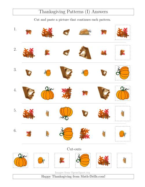 The Thanksgiving Picture Patterns with Shape, Size and Rotation Attributes (I) Math Worksheet Page 2