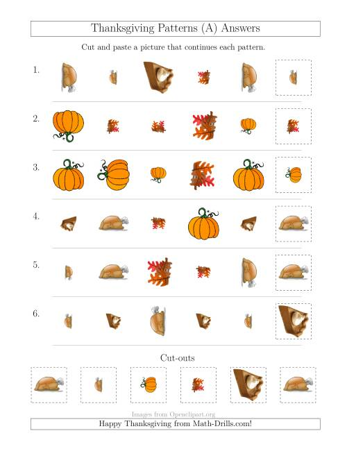 The Thanksgiving Picture Patterns with Shape, Size and Rotation Attributes (All) Math Worksheet Page 2