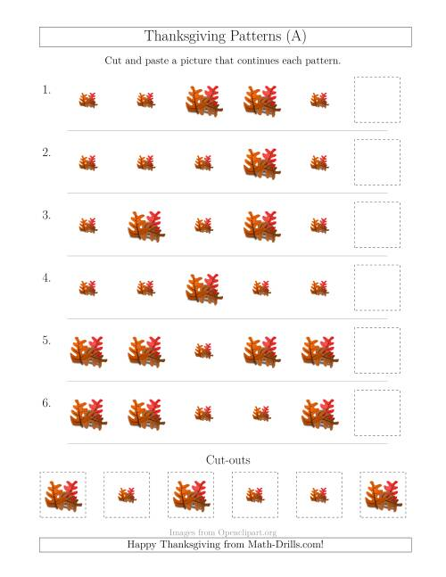 The Thanksgiving Picture Patterns with Size Attribute Only (A) Math Worksheet