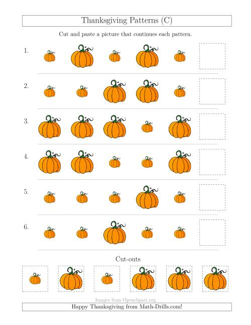 The Thanksgiving Picture Patterns with Size Attribute Only (C) Math Worksheet