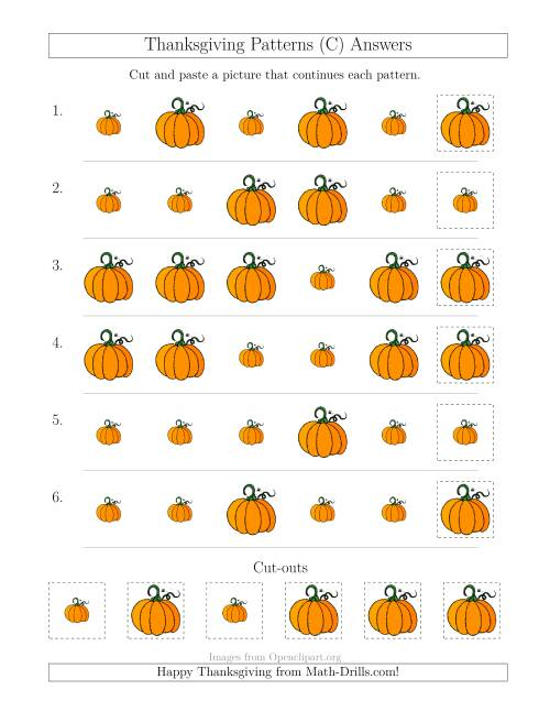 The Thanksgiving Picture Patterns with Size Attribute Only (C) Math Worksheet Page 2